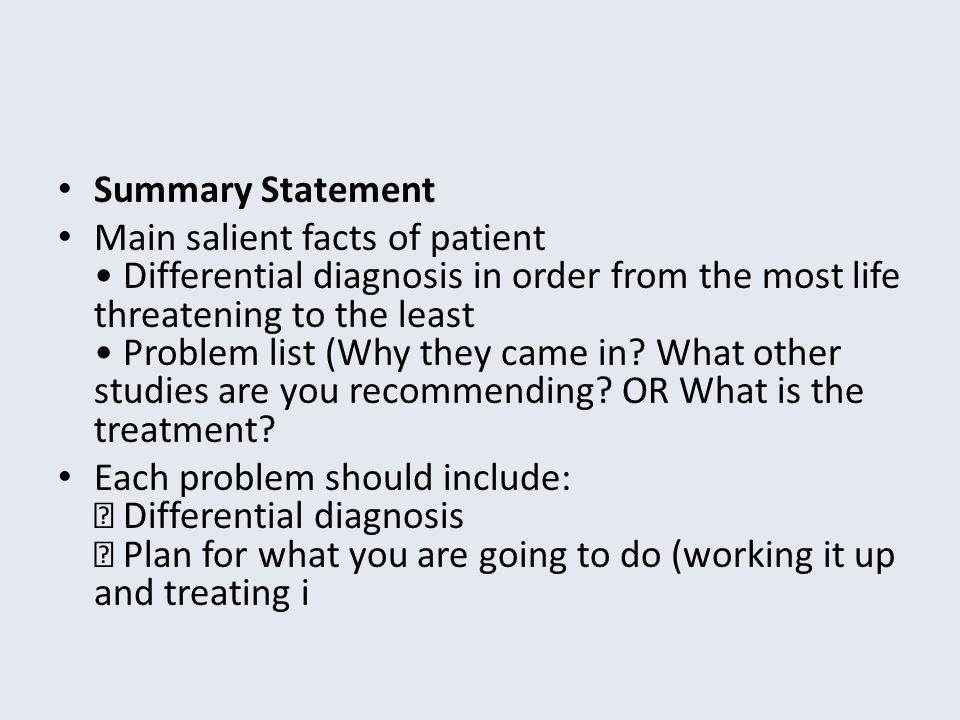 Summary Statement