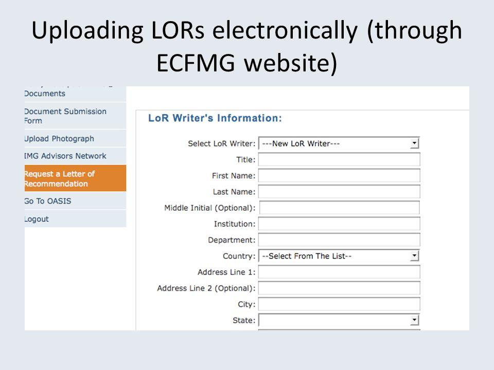 Uploading LORs electronically (through ECFMG website)
