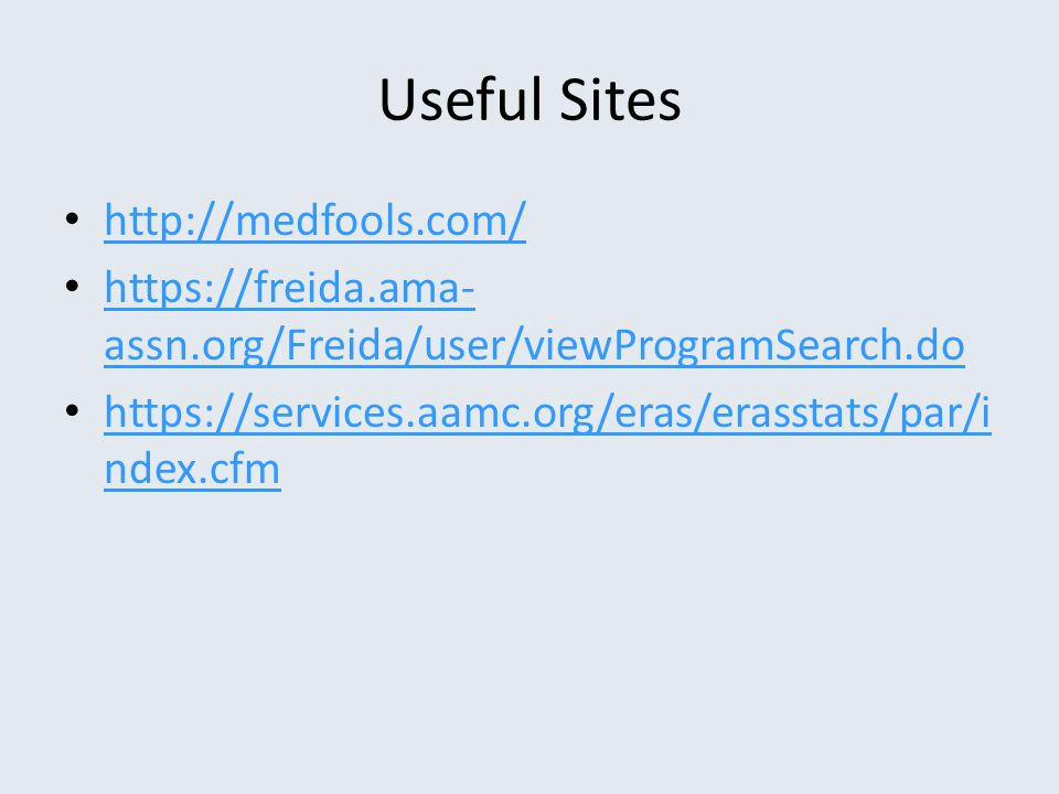 Useful Sites http://medfools.com/