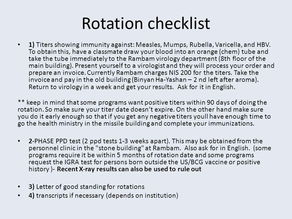 Rotation checklist