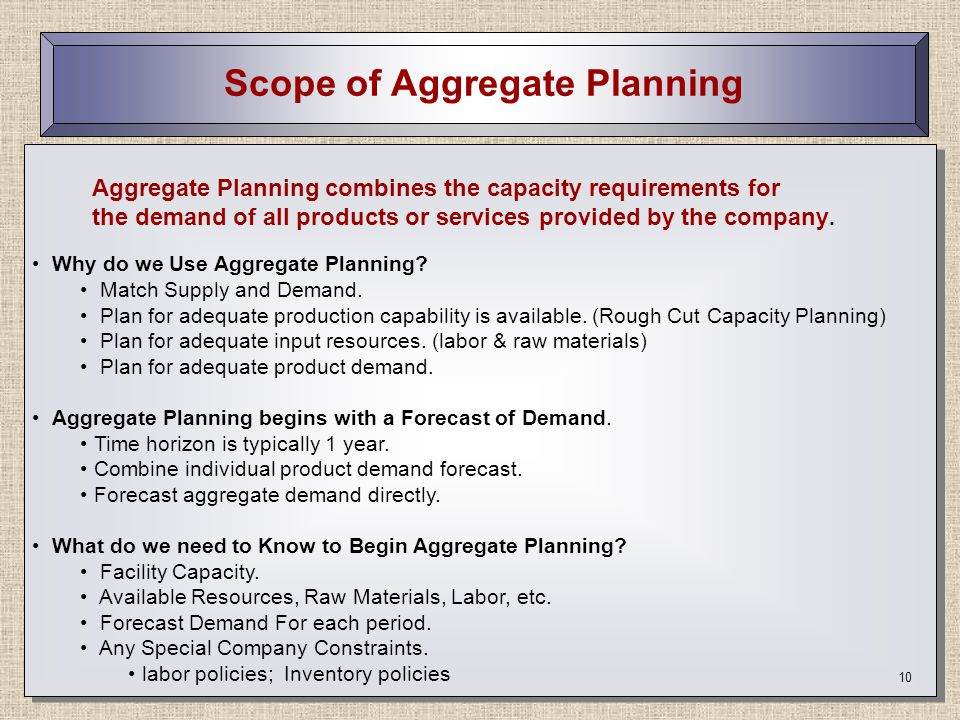 Scope of Aggregate Planning