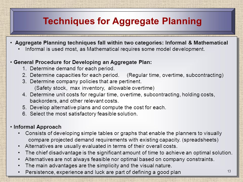 Techniques for Aggregate Planning