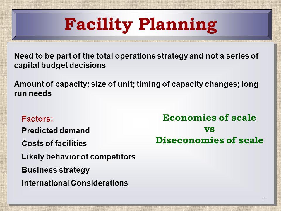 Facility Planning Economies of scale vs Diseconomies of scale
