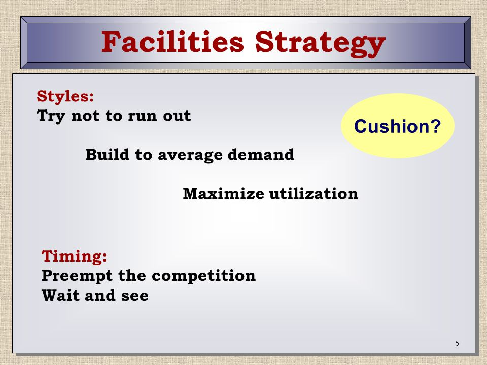 Facilities Strategy Cushion Styles: Try not to run out