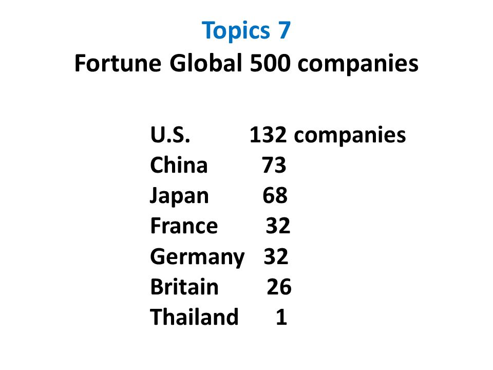 Topics 7 Fortune Global 500 companies