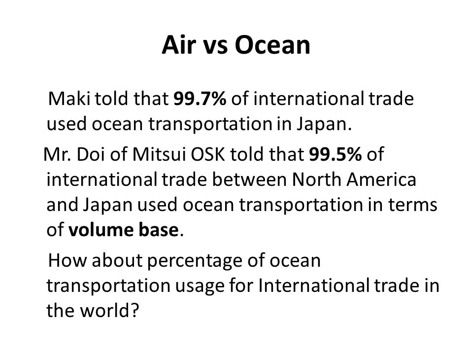 Air vs Ocean