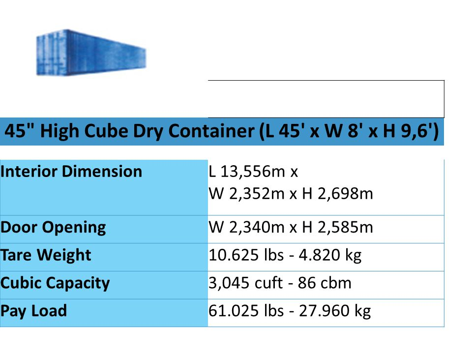 45 High Cube Dry Container (L 45 x W 8 x H 9,6 )