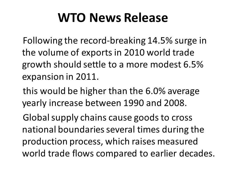 WTO News Release