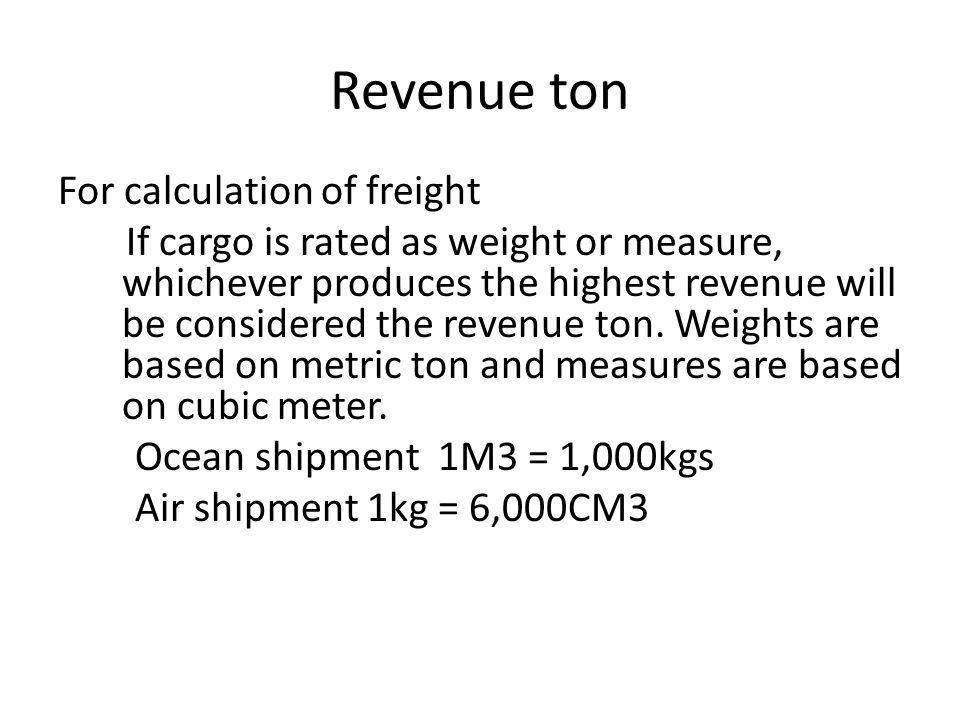 Revenue ton