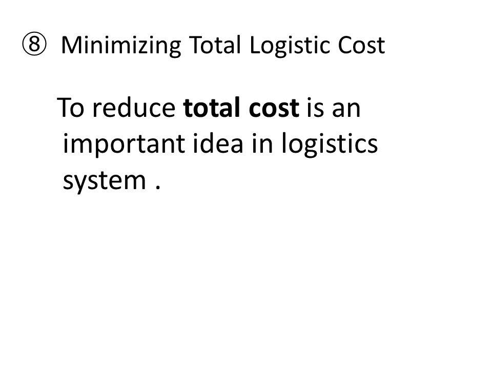 ⑧ Minimizing Total Logistic Cost