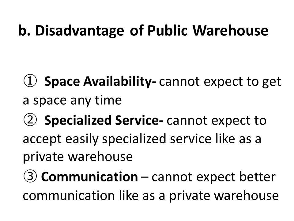b. Disadvantage of Public Warehouse