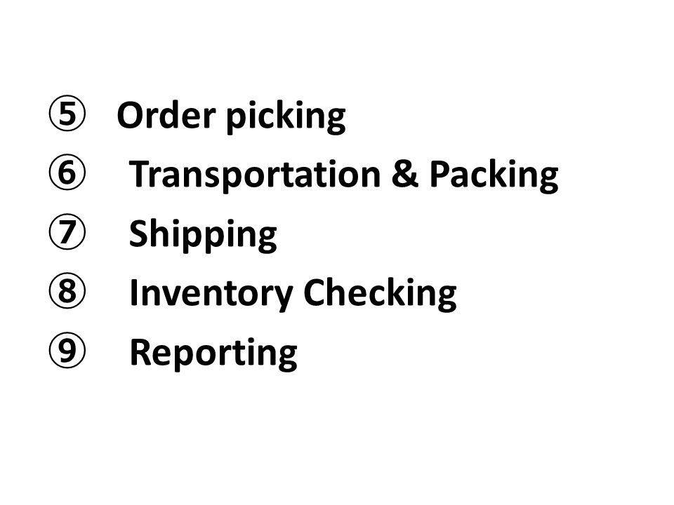 ⑤ Order picking ⑥ Transportation & Packing ⑦ Shipping ⑧ Inventory Checking ⑨ Reporting