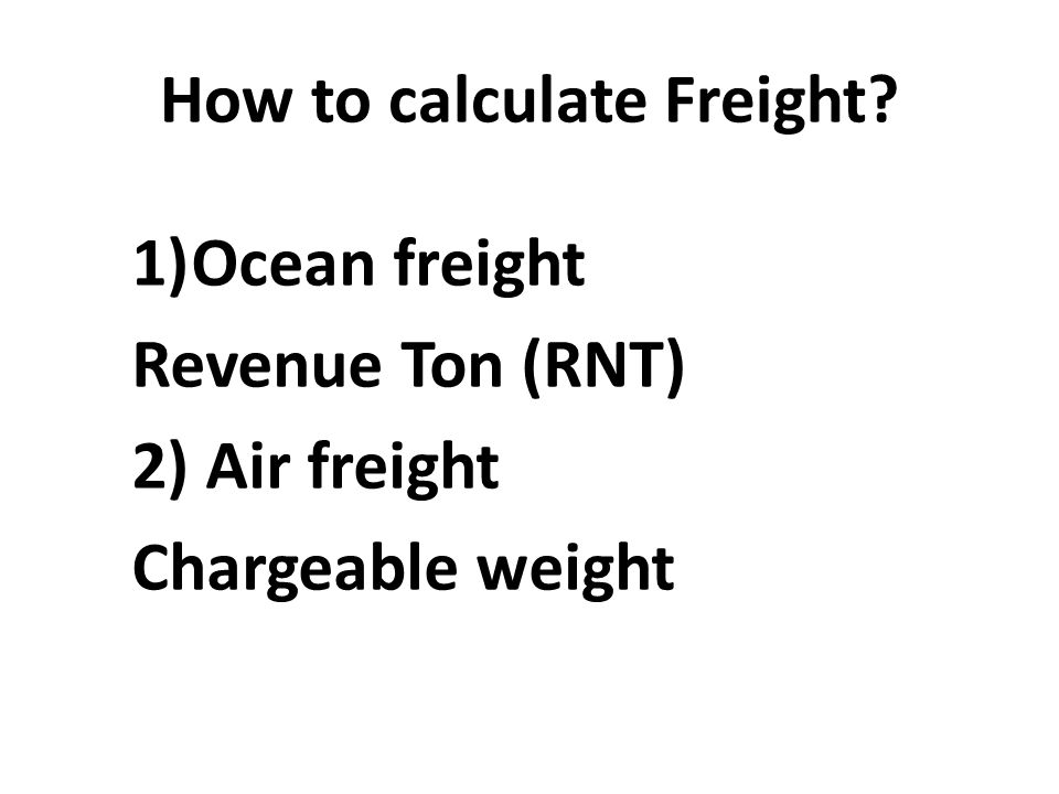 How to calculate Freight