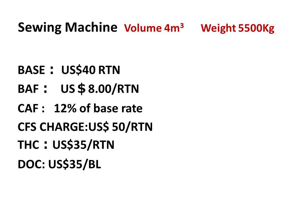Sewing Machine Volume 4m3 Weight 5500Kg