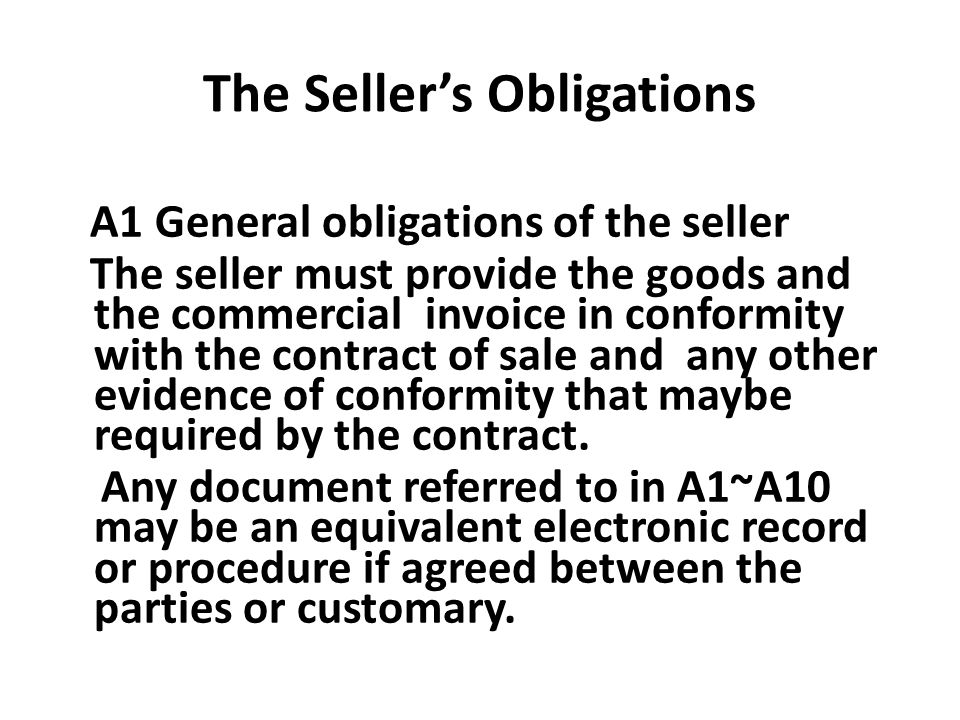 The Seller's Obligations