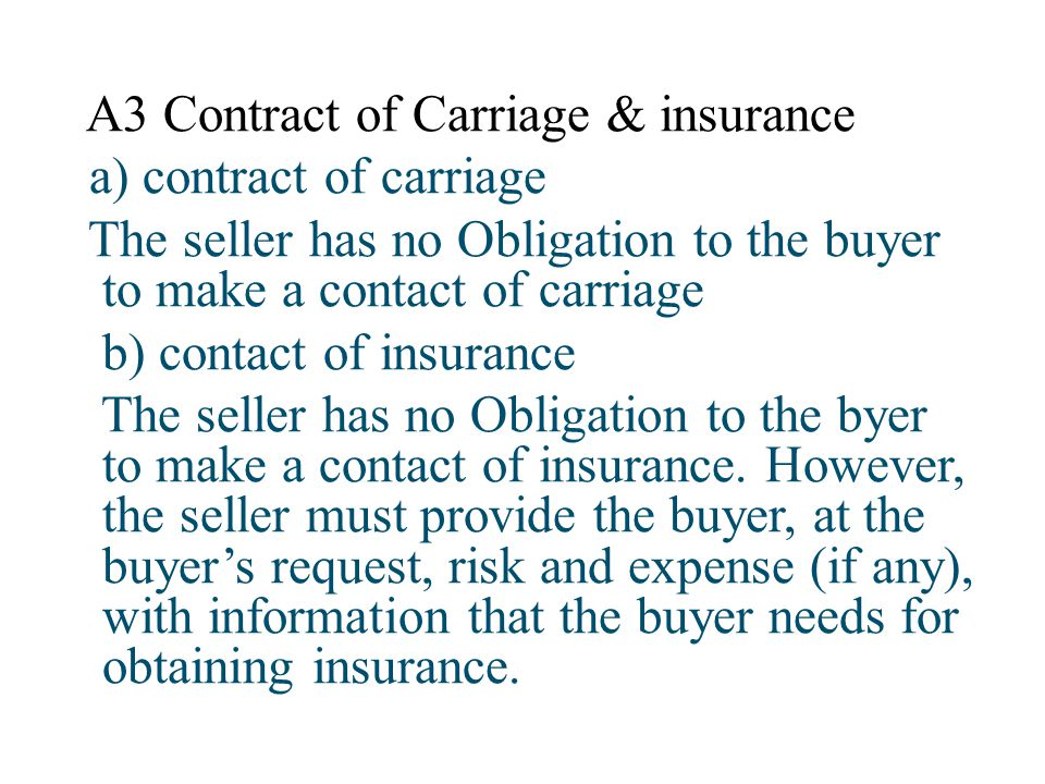A3 Contract of Carriage & insurance
