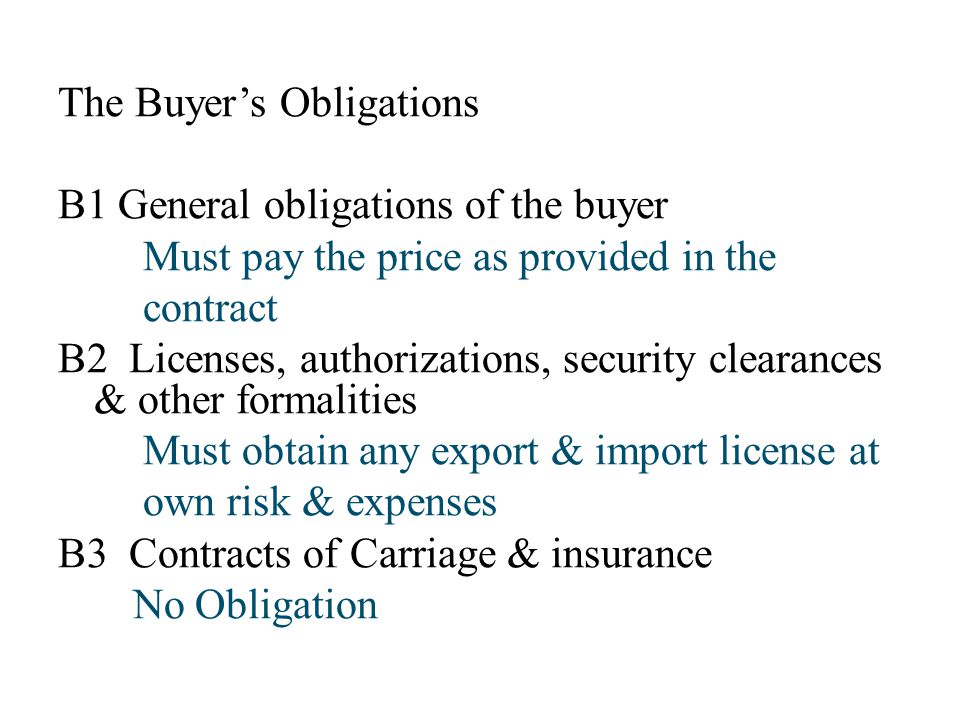 The Buyer's Obligations