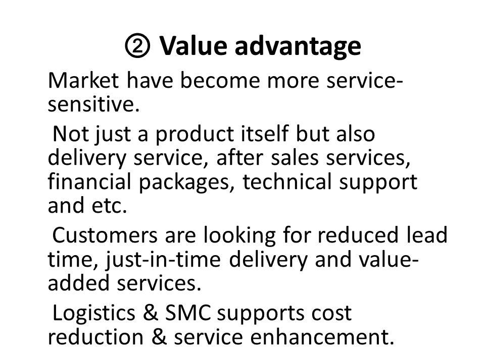 ② Value advantage Market have become more service-sensitive.