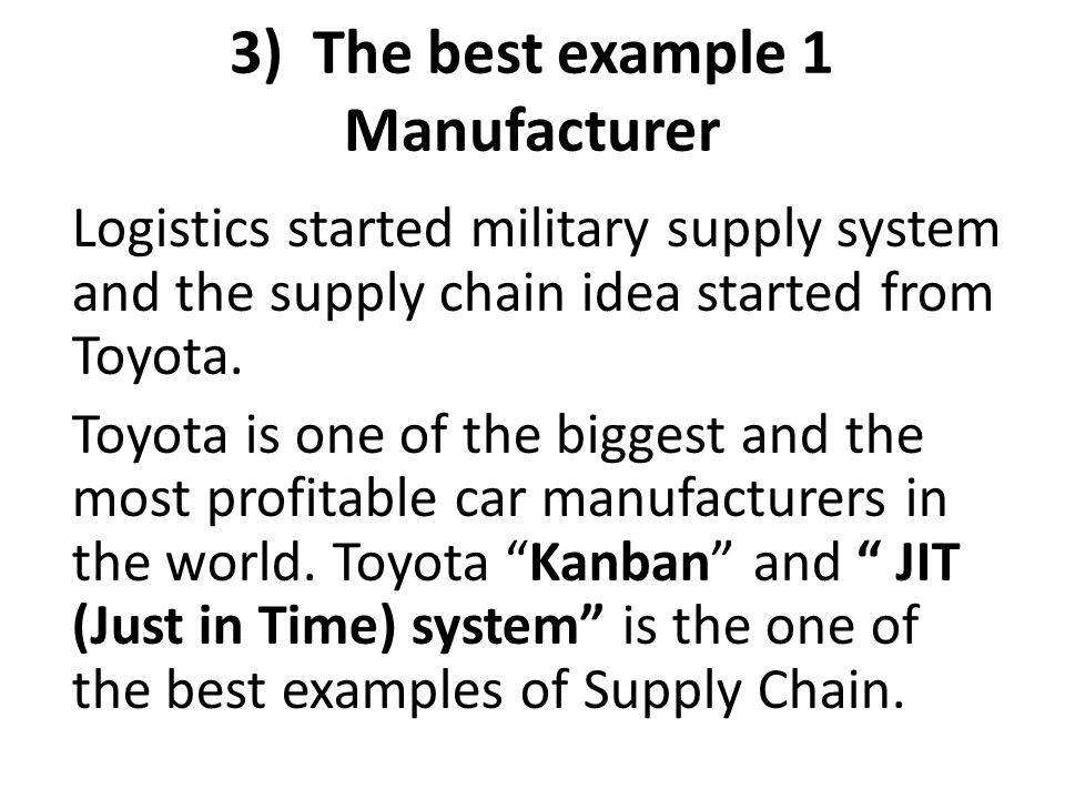 3) The best example 1 Manufacturer