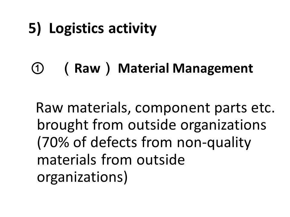 5) Logistics activity ① (Raw) Material Management.