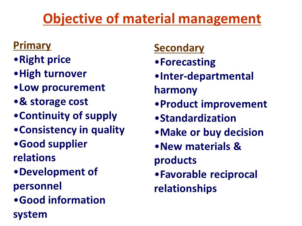Objective of material management