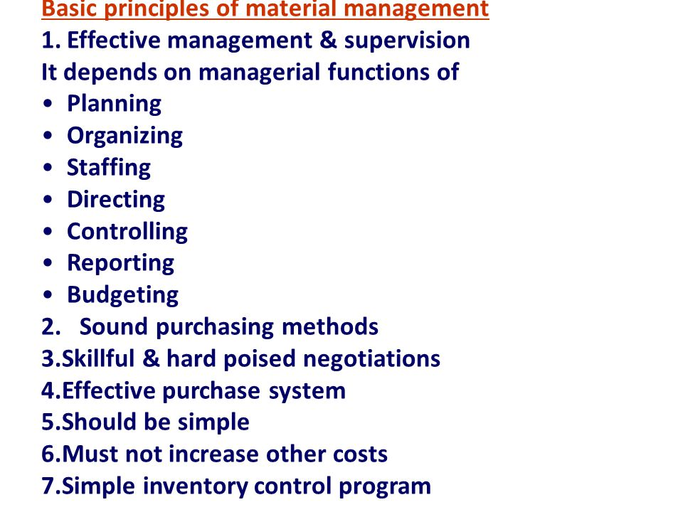 Basic principles of material management
