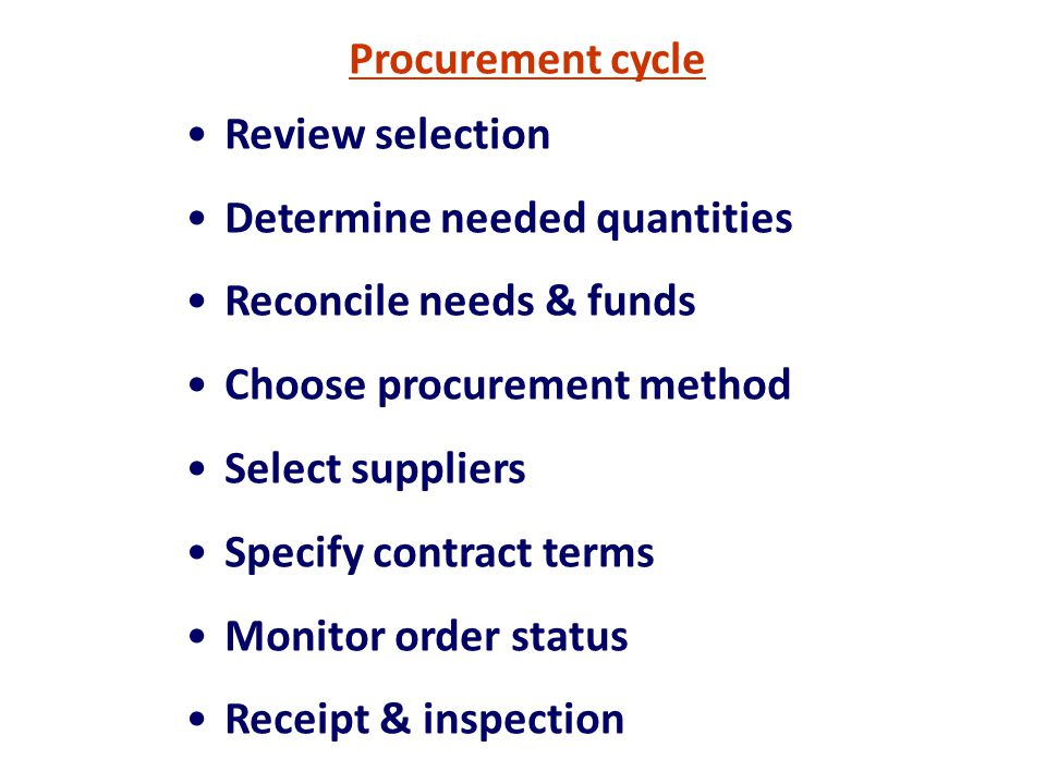 Procurement cycle Review selection. Determine needed quantities. Reconcile needs & funds. Choose procurement method.