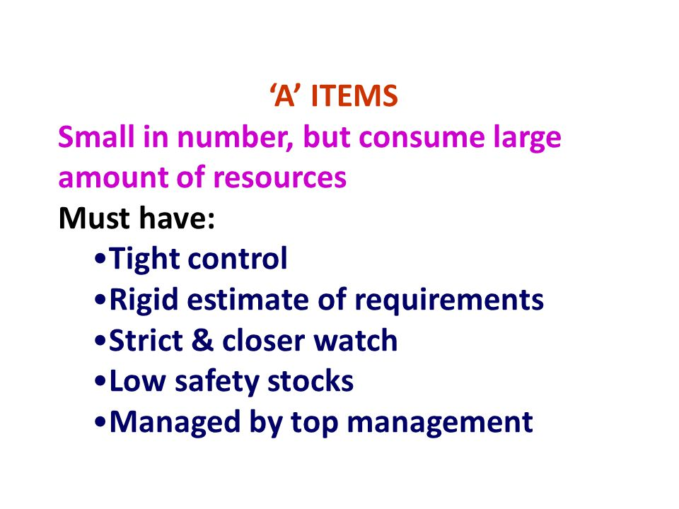 'A' ITEMS Small in number, but consume large amount of resources. Must have: Tight control. Rigid estimate of requirements.