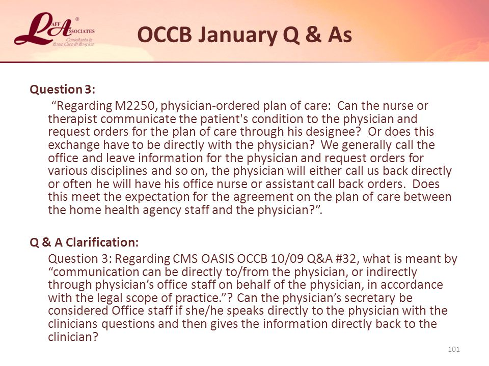 OCCB January Q & As Question 3:
