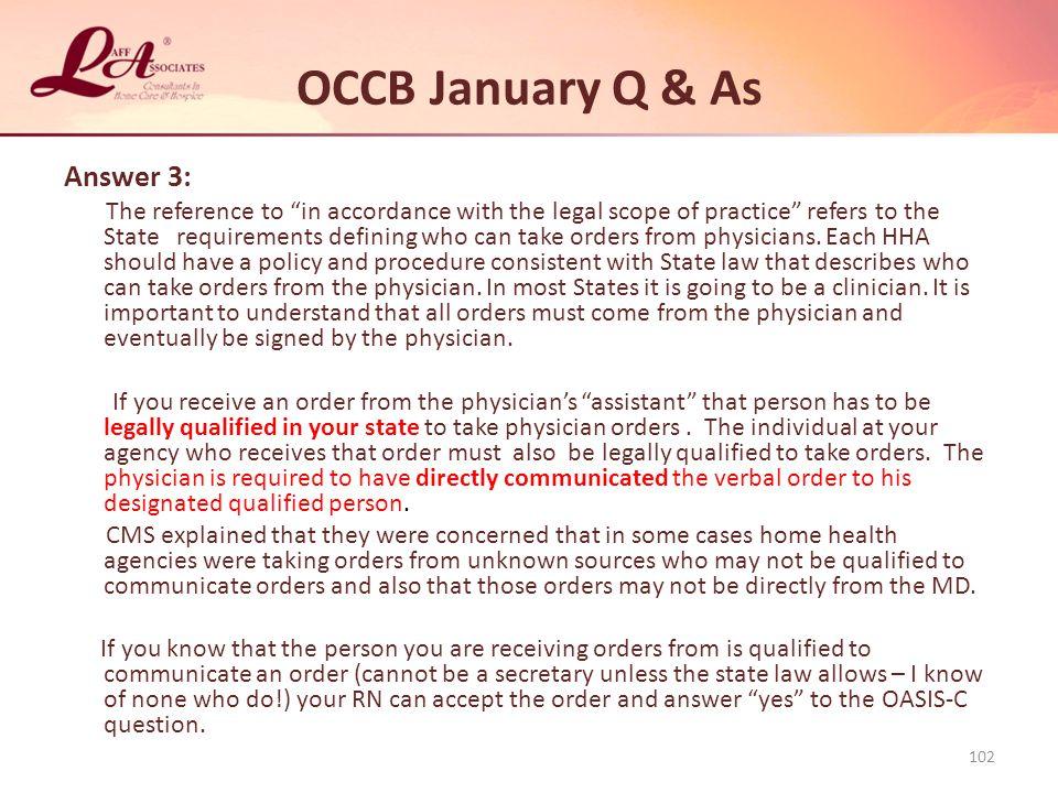 OCCB January Q & As Answer 3: