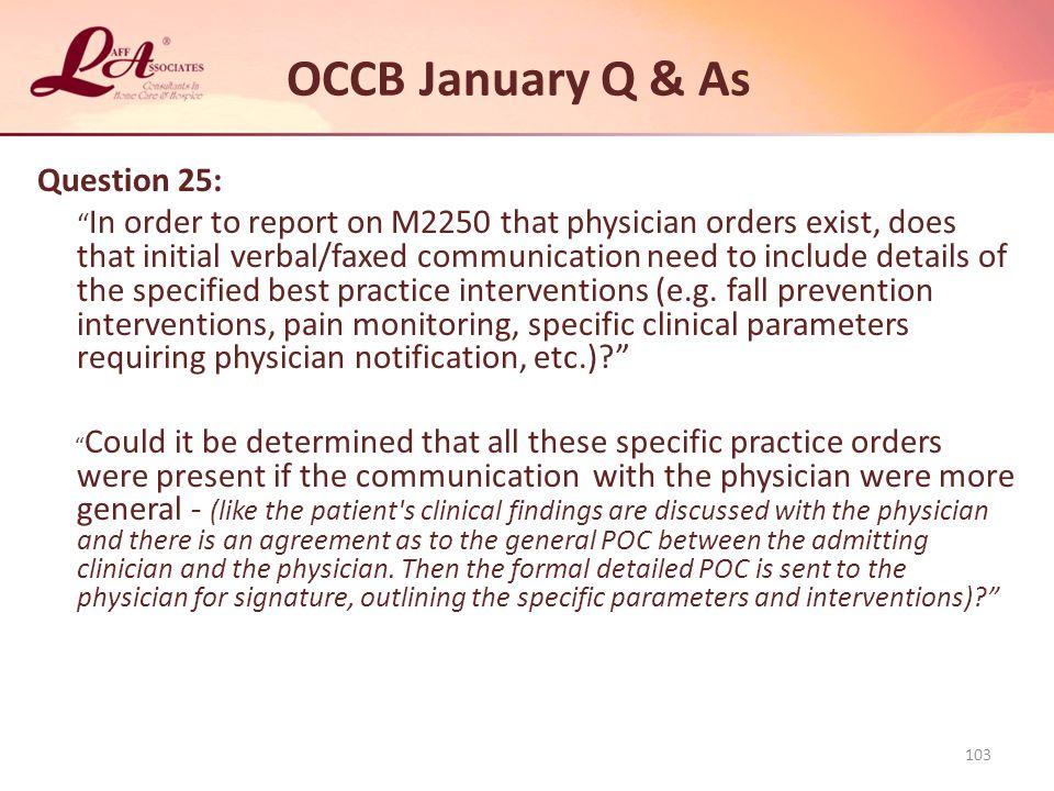 OCCB January Q & As Question 25: