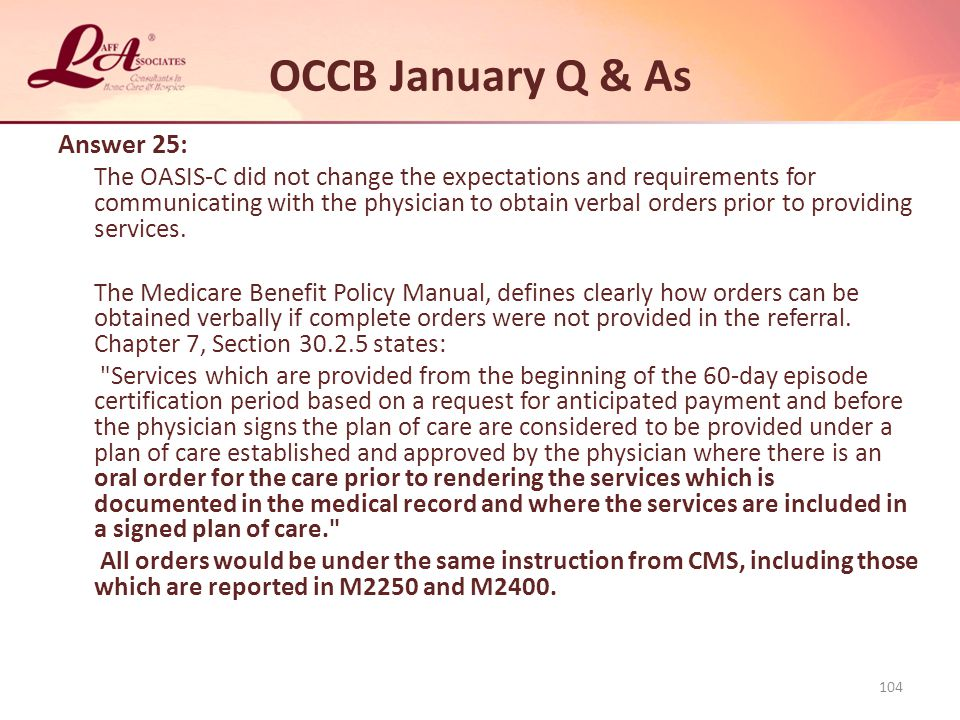 OCCB January Q & As Answer 25: