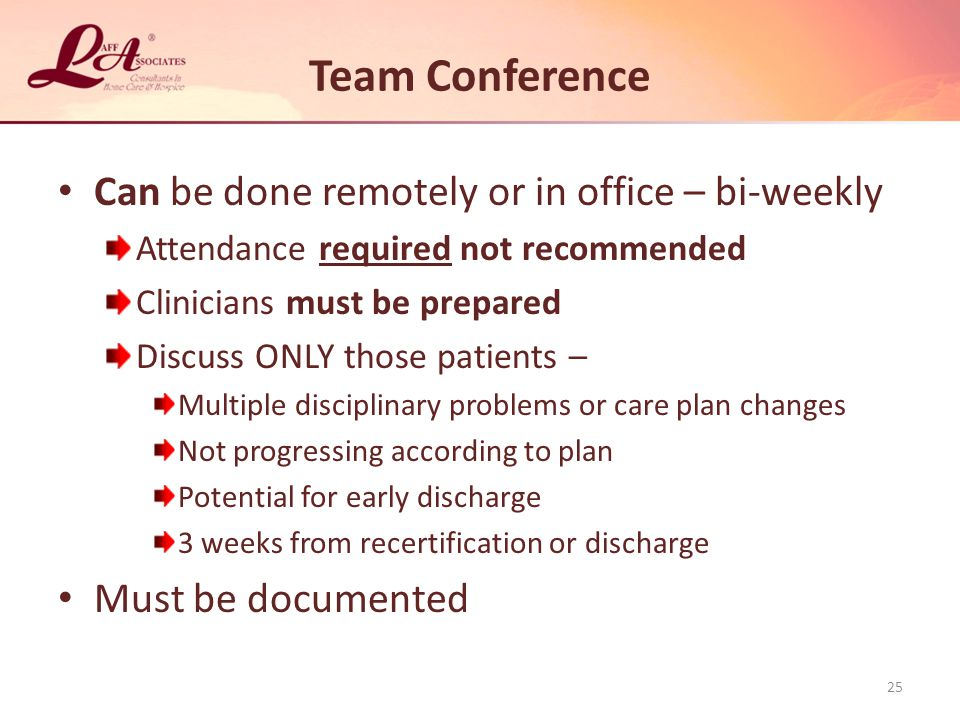Team Conference Can be done remotely or in office – bi-weekly