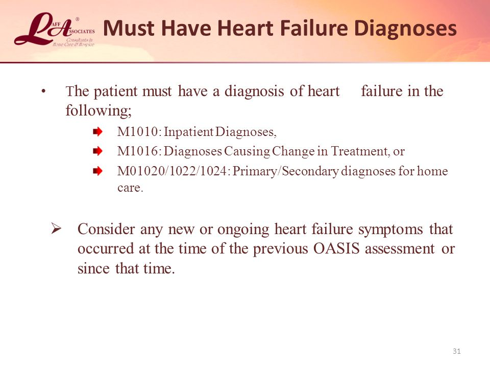 Must Have Heart Failure Diagnoses