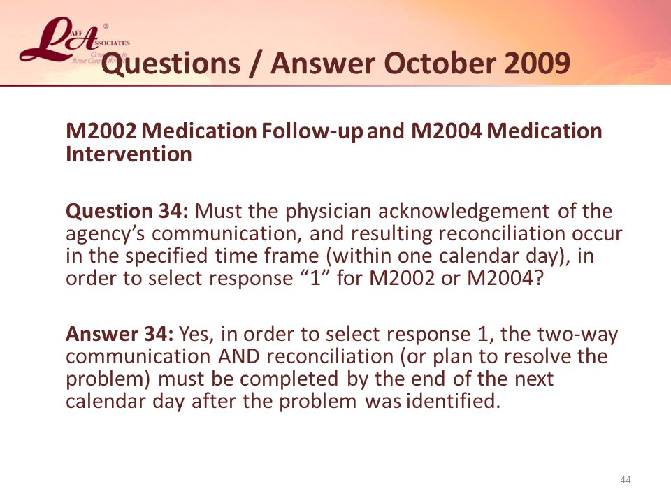 Questions / Answer October 2009