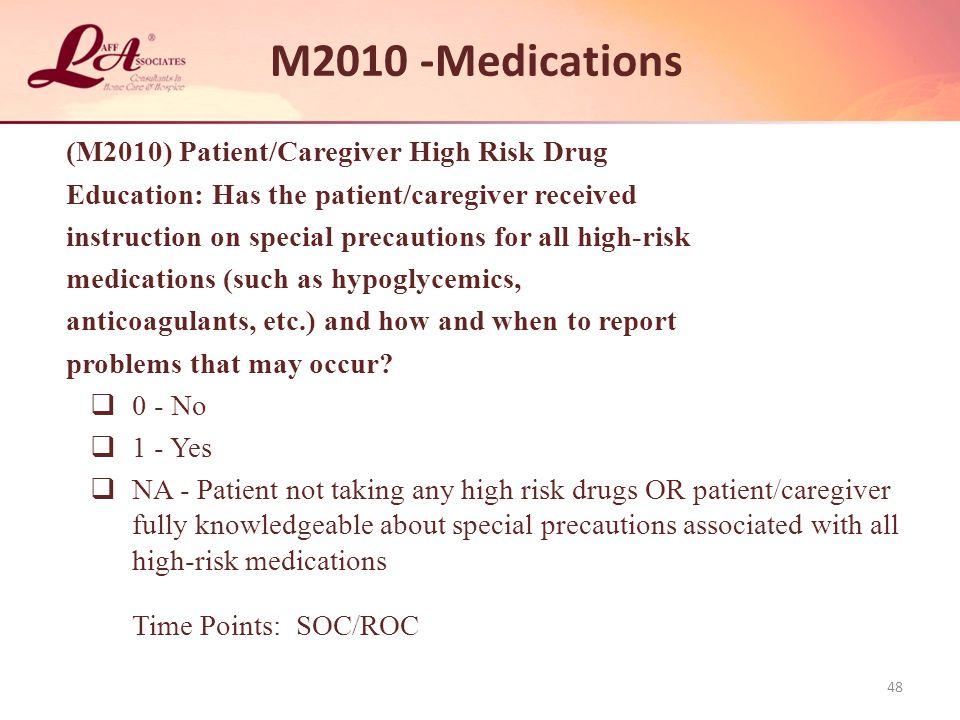 M2010 -Medications (M2010) Patient/Caregiver High Risk Drug