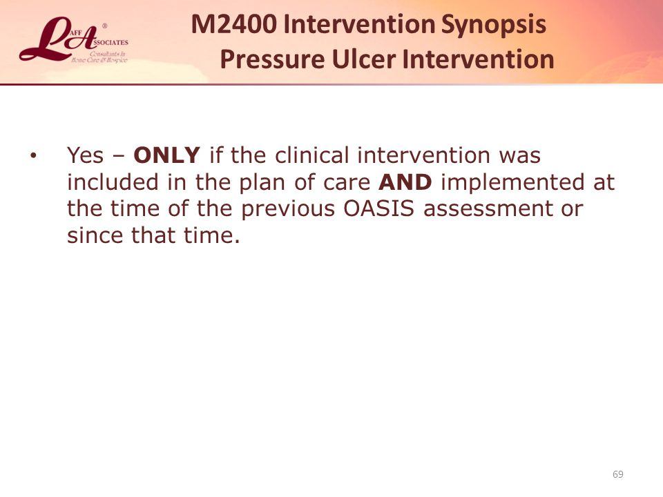 M2400 Intervention Synopsis Pressure Ulcer Intervention
