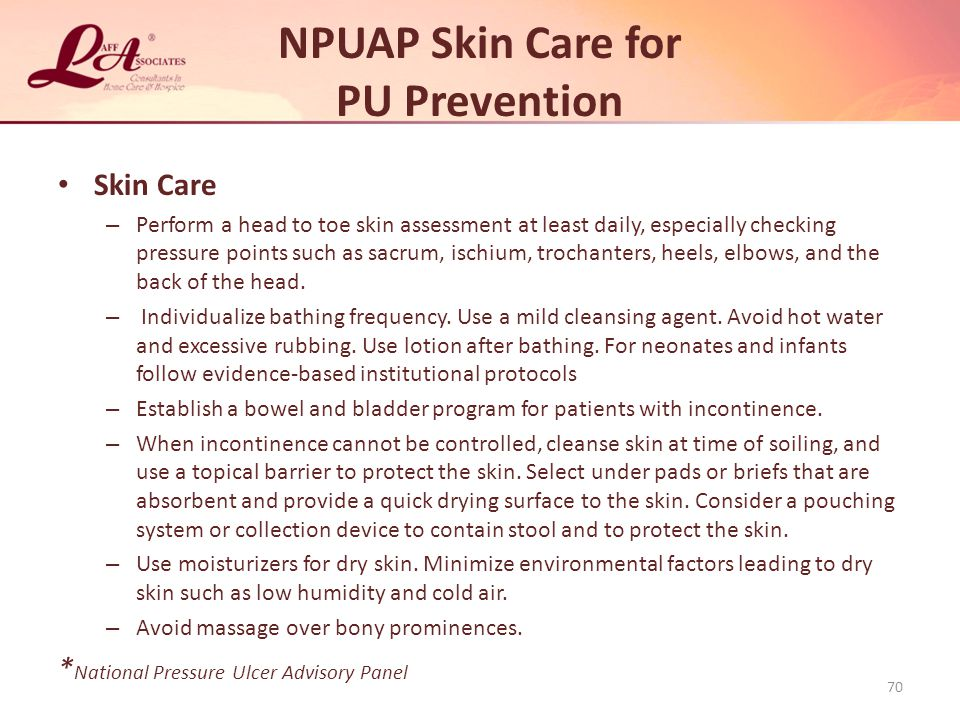 NPUAP Skin Care for PU Prevention