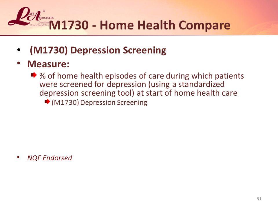 M1730 - Home Health Compare (M1730) Depression Screening Measure: