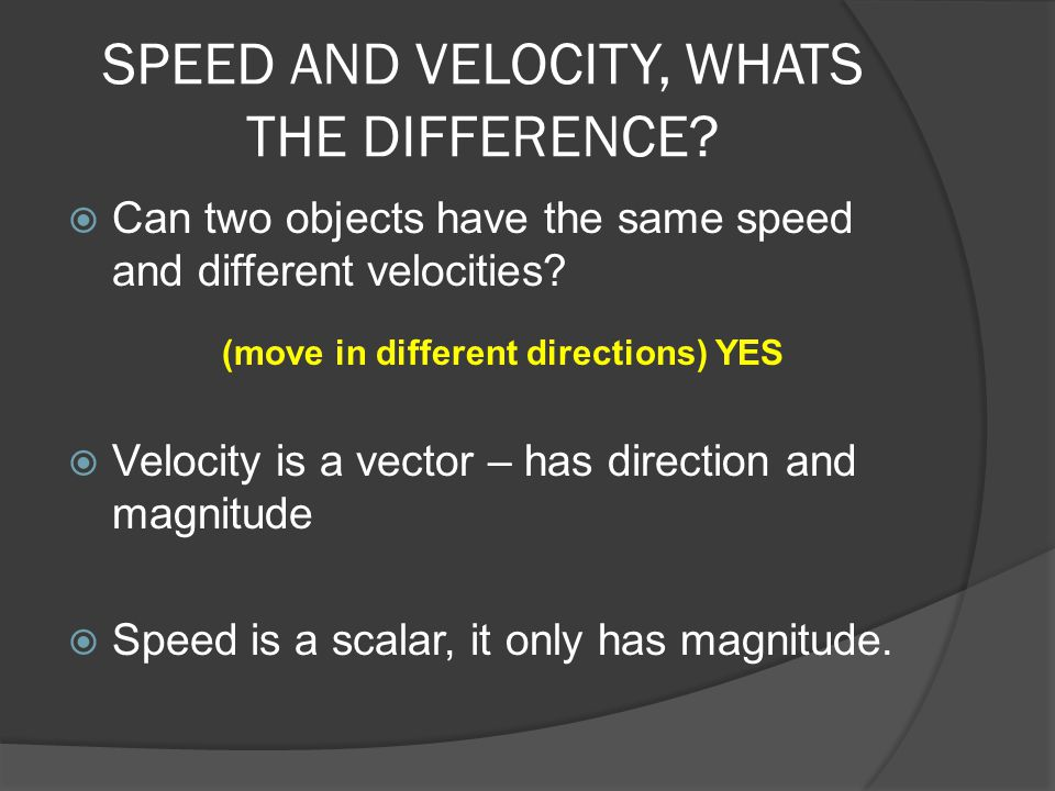 SPEED AND VELOCITY, WHATS THE DIFFERENCE