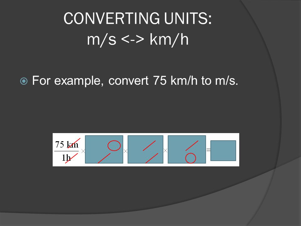 CONVERTING UNITS: m/s <-> km/h