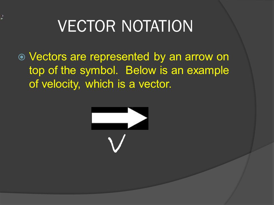 VECTOR NOTATION Vectors are represented by an arrow on top of the symbol. Below is an example of velocity, which is a vector.