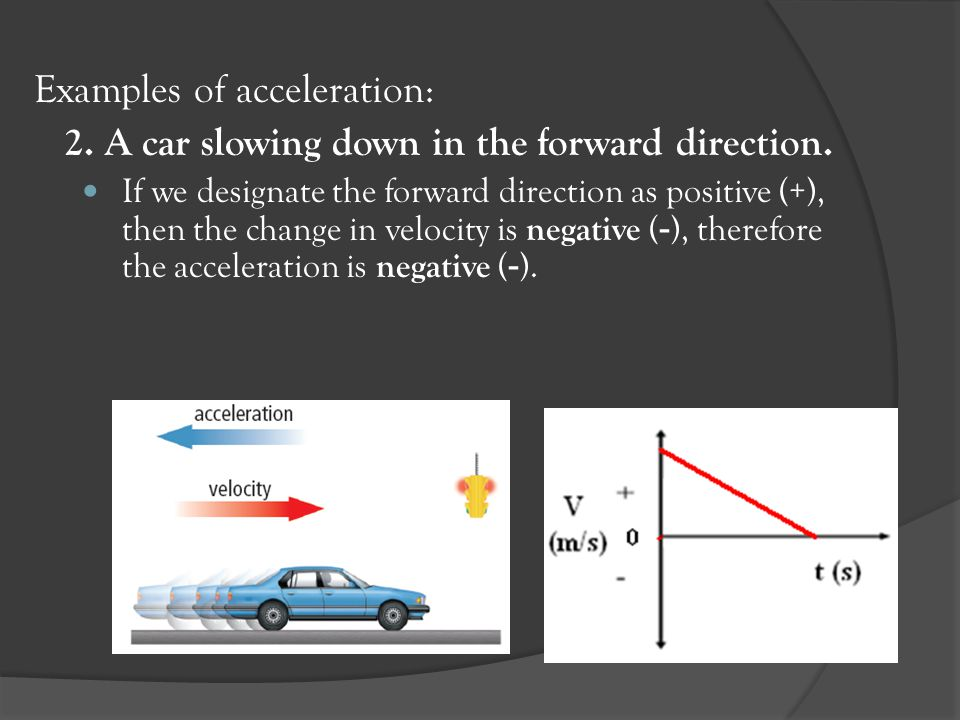 Examples of acceleration: