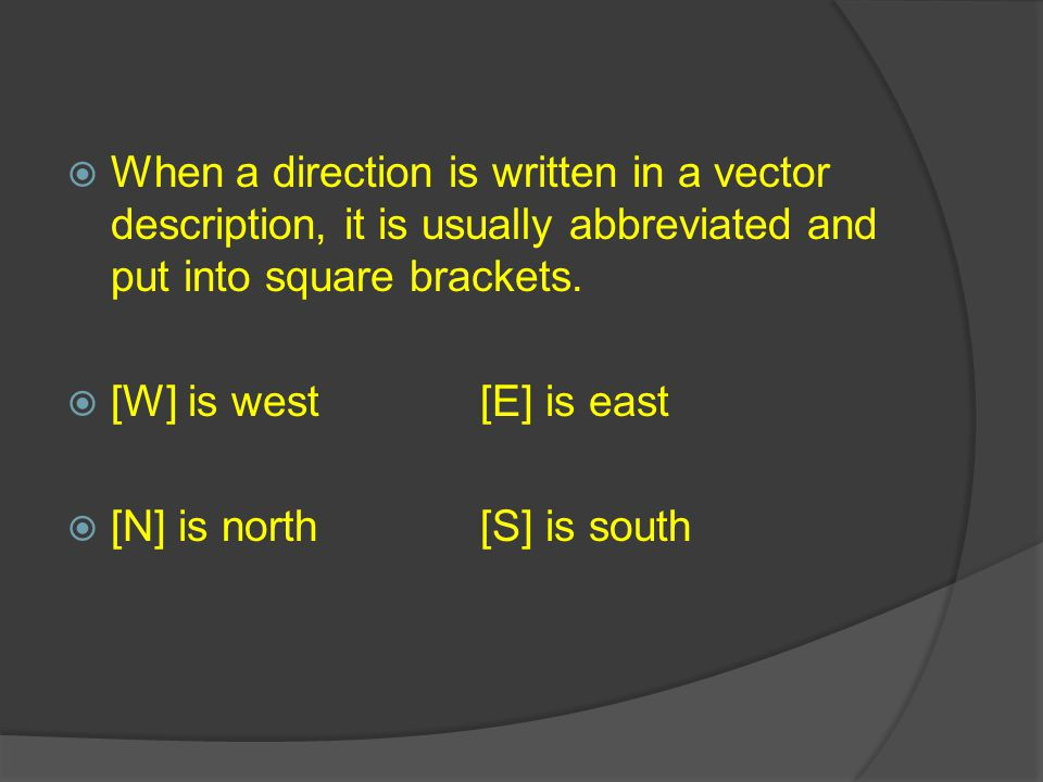 When a direction is written in a vector description, it is usually abbreviated and put into square brackets.