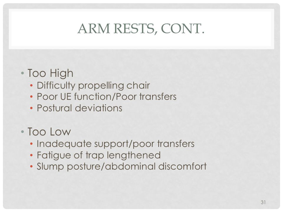 Arm Rests, cont. Too High Too Low Difficulty propelling chair
