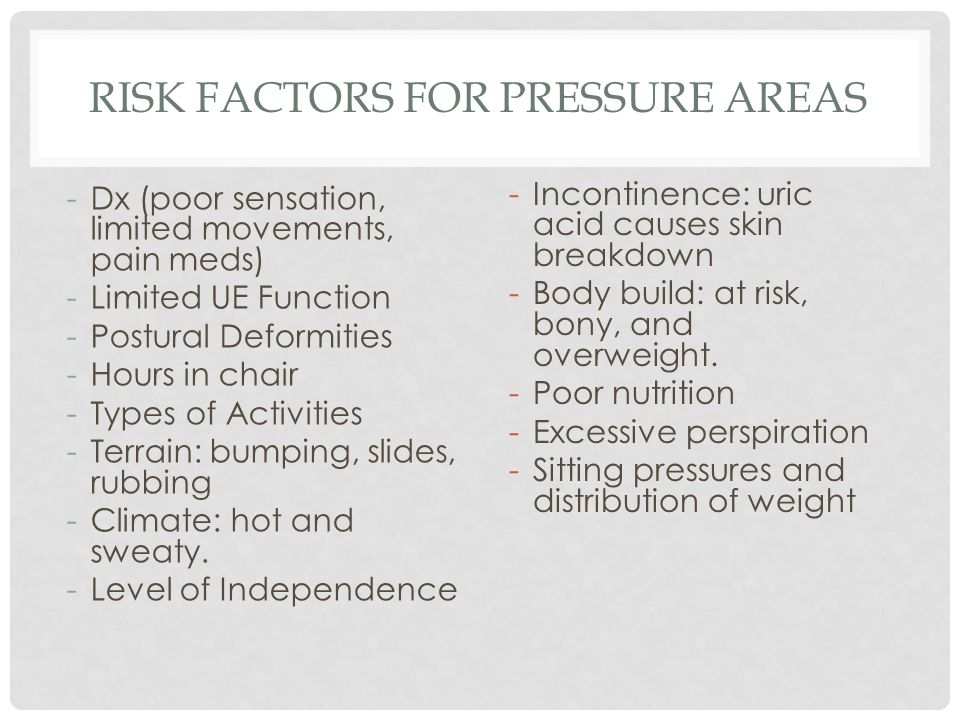 Risk Factors for Pressure Areas