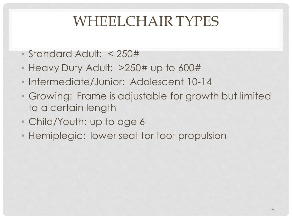 Wheelchair Types Standard Adult: < 250#