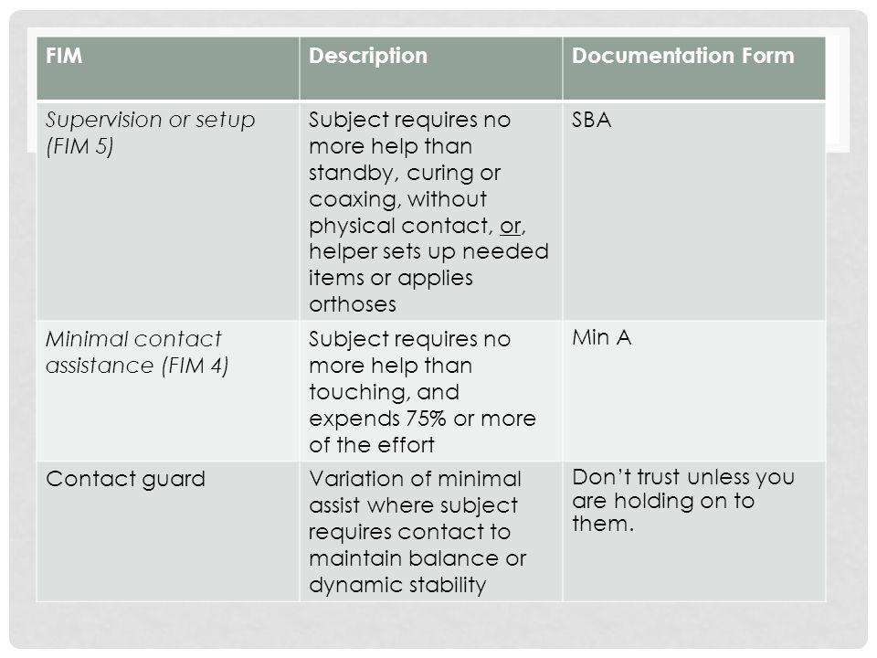 FIM Description. Documentation Form. Supervision or setup (FIM 5)