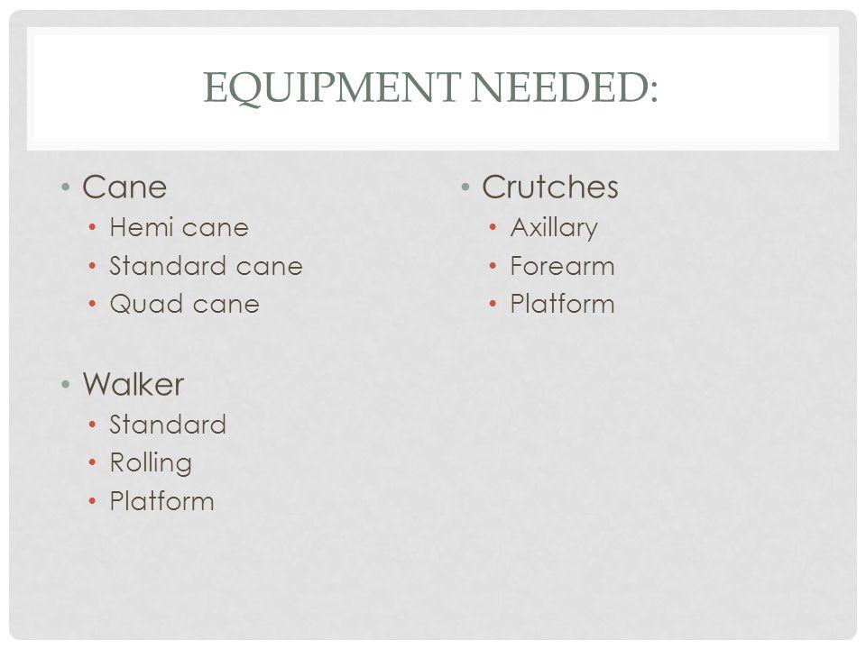 Equipment Needed: Cane Walker Crutches Hemi cane Standard cane