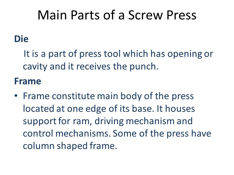 Main Parts of a Screw Press